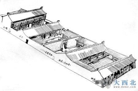 河南古建手绘图