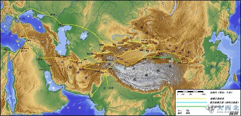 丝绸之路陆路路线图
