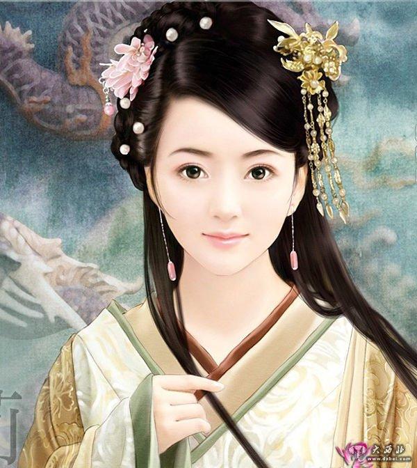 古代美女王妃手绘