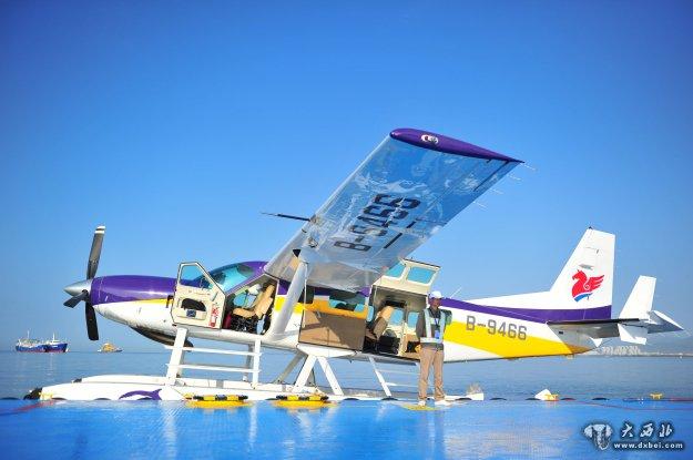 1月25日,海南三亚水上飞机载客准备启航