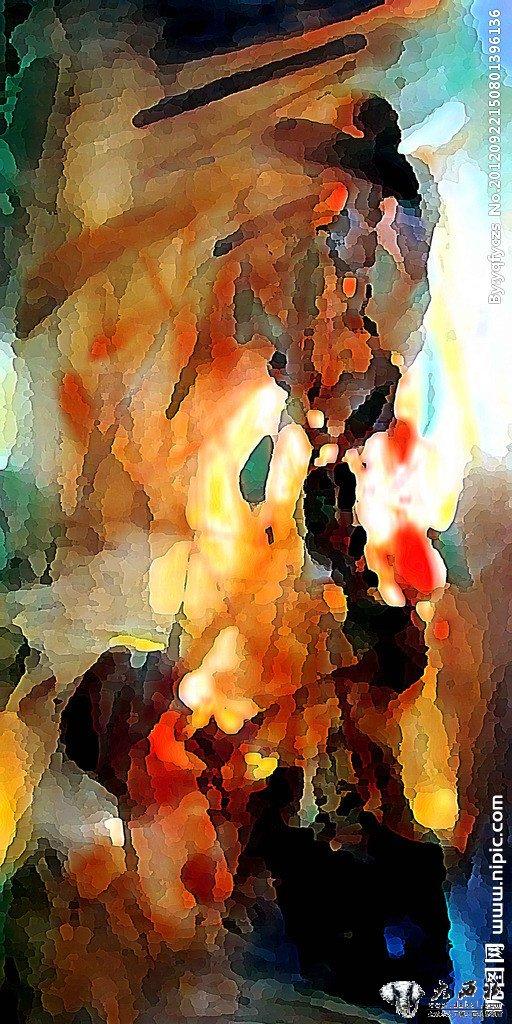 色彩风景抽象画作品