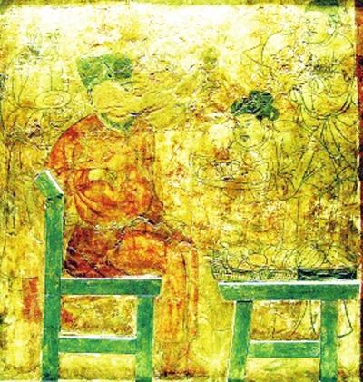 """中国最早的""""西瓜图""""(内蒙古敖汉旗羊山一号辽墓壁画)"""