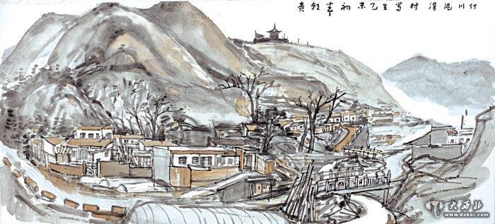 素描嵩山风景画